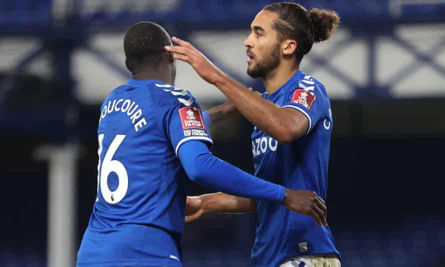 Dominic Calvert-Lewin celebrates with Abdoulaye Doucouré after scoring for Everton in the FA Cup fourth round against Sheffield Wednesday.