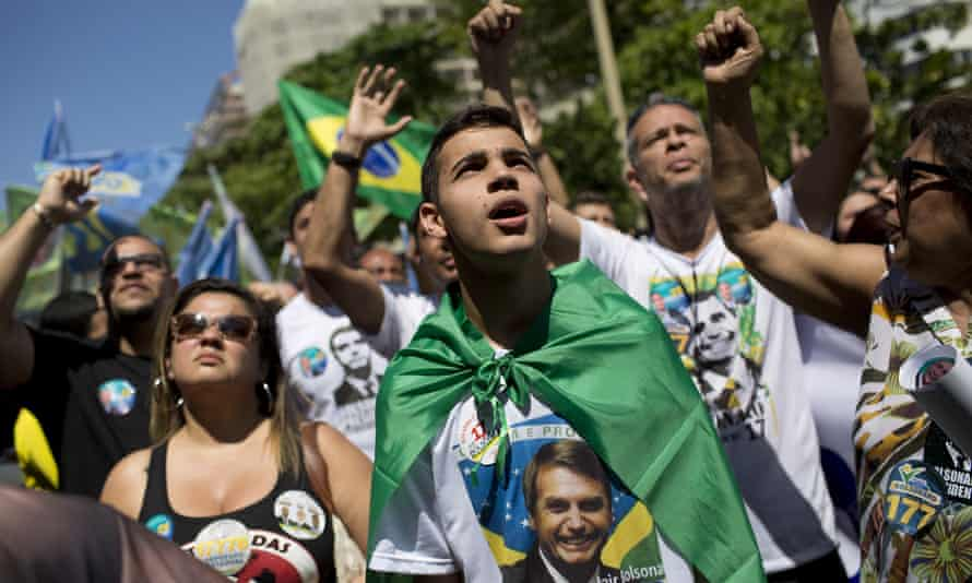 Supporters of presidential candidate Jair Bolsonaro at a rally in Rio de Janeiro, Brazil on 9 September 2018.