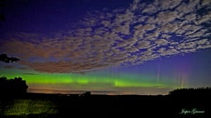 A spectacular display of the aurora borealis over Silkeborg, Denmark. The flashes of light are caused by superheated gas in the atmosphere arriving from the sun after a coronal mass ejection, otherwise known as a solar storm.