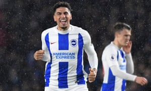 Brighton's Leon Balogun celebrates scoring their second goal.