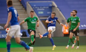 Leicester's James Maddison goes close.