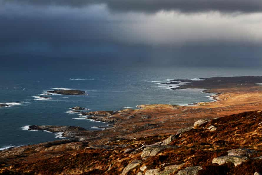 Looking out from Griomabhal Hill to Eilean Mealasta island in the Uig area of the Isle of Lewis