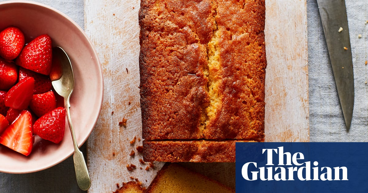 Thomasina Miers' recipe for clotted cream drizzle cake with macerated strawberries