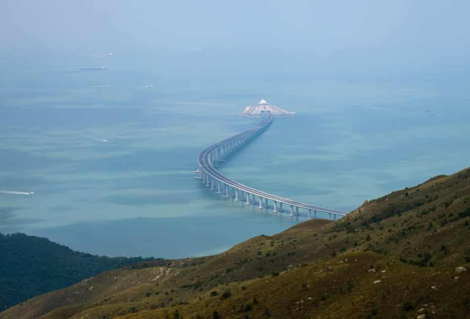 The Hong Kong-Zhuhai-Macau Bridge, seen from Lantau island in Hong Kong, will open on Tuesday.