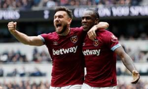 West Ham's Michail Antonio celebrates scoring with Robert Snodgrass.