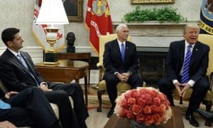 Paul Ryan, Mike Pence and Donald Trump in the Oval Office of the White House Wednesday.