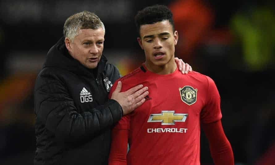 Ole Gunnar Solskjær, who knows a thing or two about being a young striker at Old Trafford, with their latest protege Mason Greenwood.