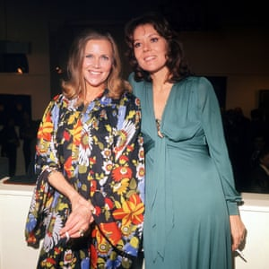 Former Avengers and Bond girls, Honor Blackman and Diana Rigg at a party in 1974