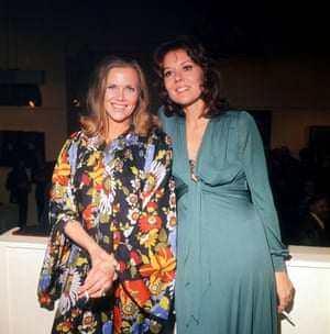 Honor Blackman at a party in 1974 with her Avengers successor, Diana Rigg