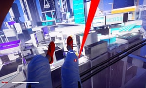 Screengrab from Mirror's Edge: Catalyst showing legs on a zipline