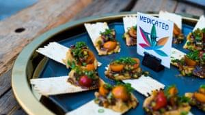 High-end edible cannabis snacks at the Curious Cannabis Salon, San Francisco.
