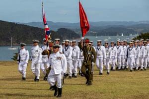 Sailors take part in a New Zealand Navy parade prior to Waitangi Day