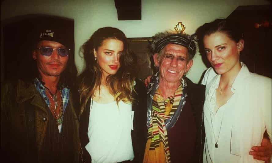 (From left) Depp, Heard, Keith Richards and Whitney Heard in 2013.