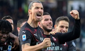 Zlatan Ibrahimovic celebrates after scoring the second goal in their away victory over Cagliari.