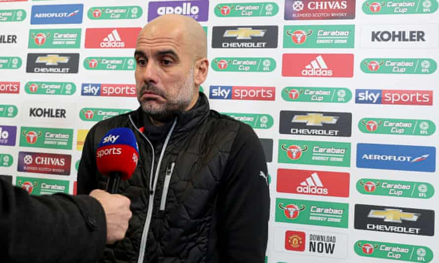 Pep Guardiola at his side's League Cup semi-final at Old Trafford this month.