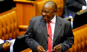 Cyril Ramaphosa arrives at Parliament in Cape Town to be sworn in as president on Thursday.