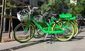 Electric bikes on a Sydney street on Sunday.