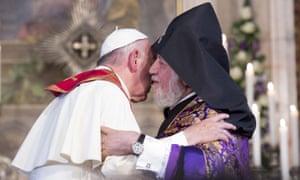 Francis embraces the Apostolic patriarch Karekin II.