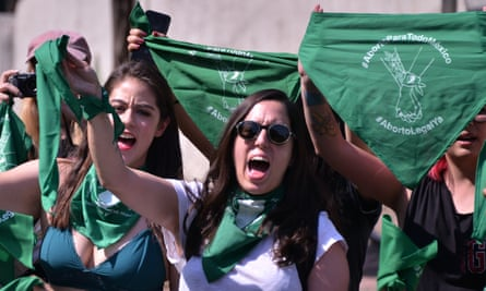 Protesters rally for the decriminalization of abortion in Mexico City on 19 February.