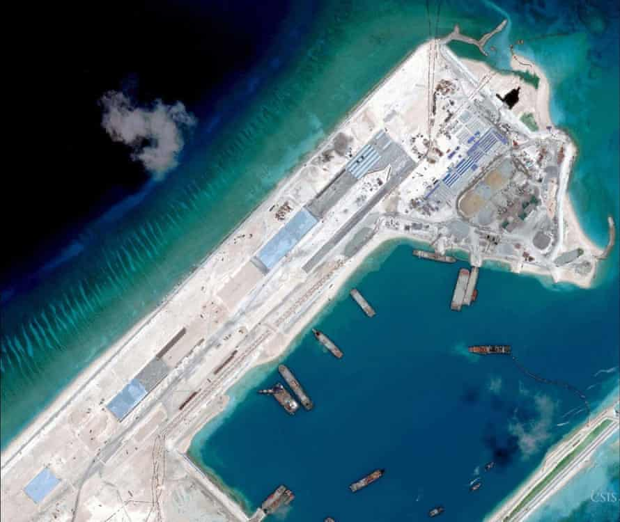 Satellite image of airstrip construction on the Fiery Cross reef in the South China Sea.