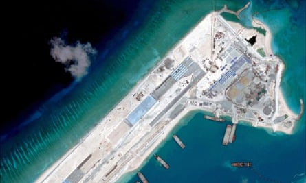 Satellite image of an airstrip construction on the Fiery Cross Reef in the South China Sea.