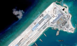 Satellite image dated April 2015 of an airstrip under construction on the Fiery Cross Reef in the South China Sea