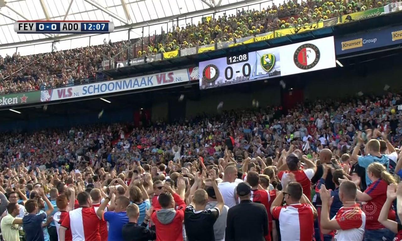 Den Haag Fans Shower Children With Cuddly Toys At Feyenoord Match