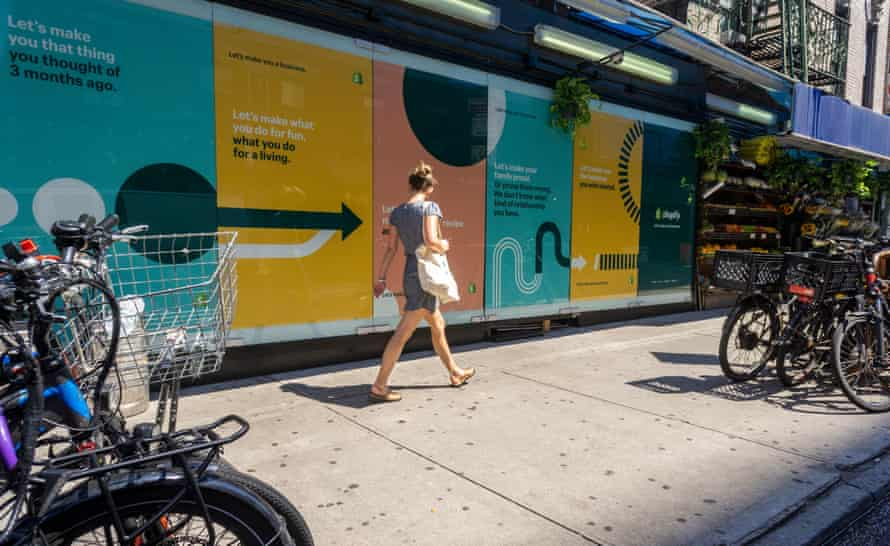 an advertisement for shopify on new york's lower east side, 2019