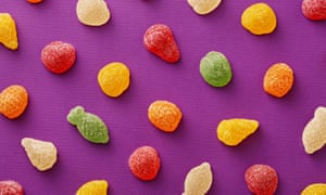 Gummy Candies On Purple