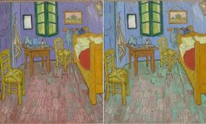 Van Gogh's bedroom, as painted in 1888 and 1889.
