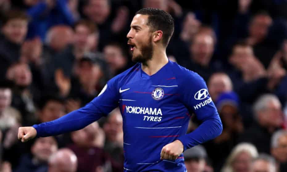 Eden Hazard celebrates scoring Chelsea's second goal against Brighton