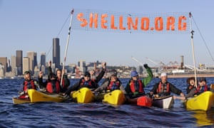 This 17 April 2015 photo shows a group of kayakers demonstrating against Shell in Elliott Bay in Seattle.