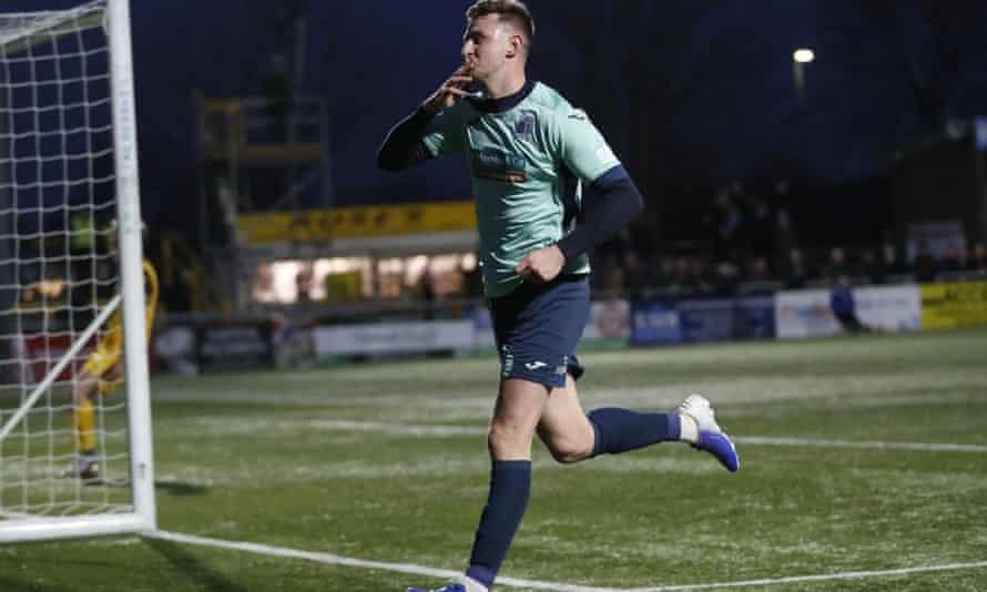 Scott Quigley celebrates scoring for Barrow against Sutton