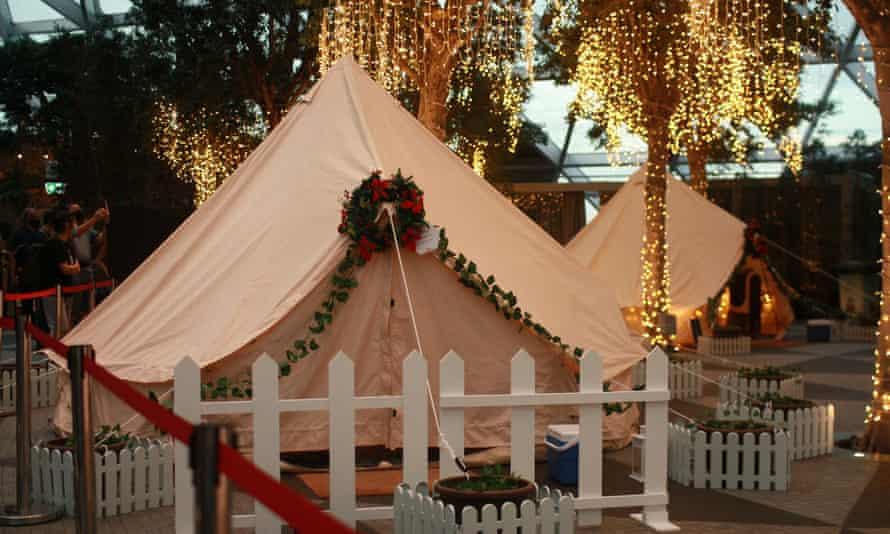 Glamping tents at Changi airport
