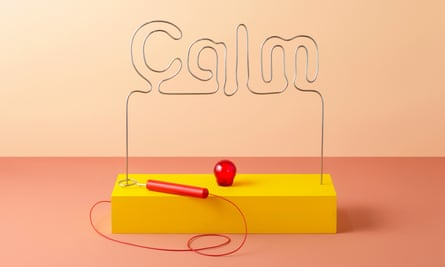 buzzer game with th wire bent into the shape of the word calm