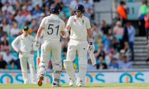 Root is congratulated by Bairstow after reaching a half century.