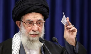 Ayatollah Ali Khamenei gives a live television speech in Iran.