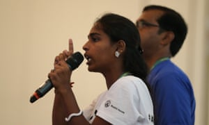 Usha Elumalai speaking at the Street Child Games 'general assembly' in Rio de Janeiro, 18 March 2016.
