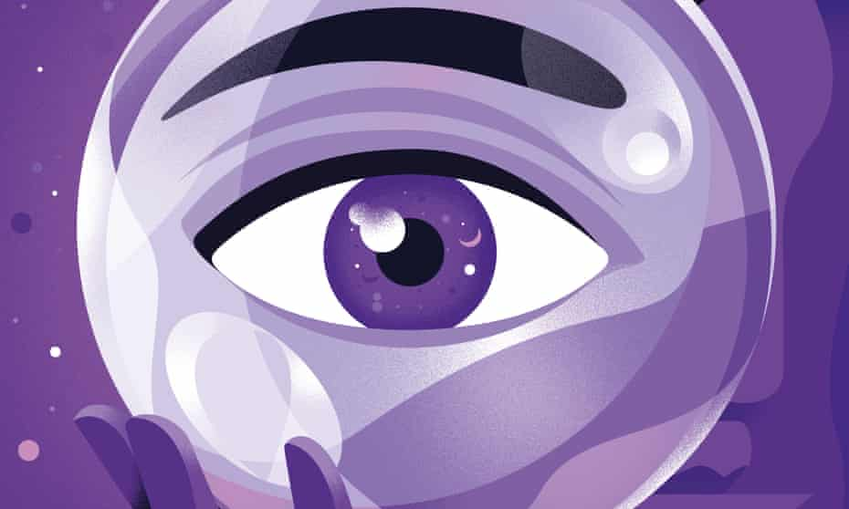 An illustration, in shades of purple, of an eyeball, held in a hand