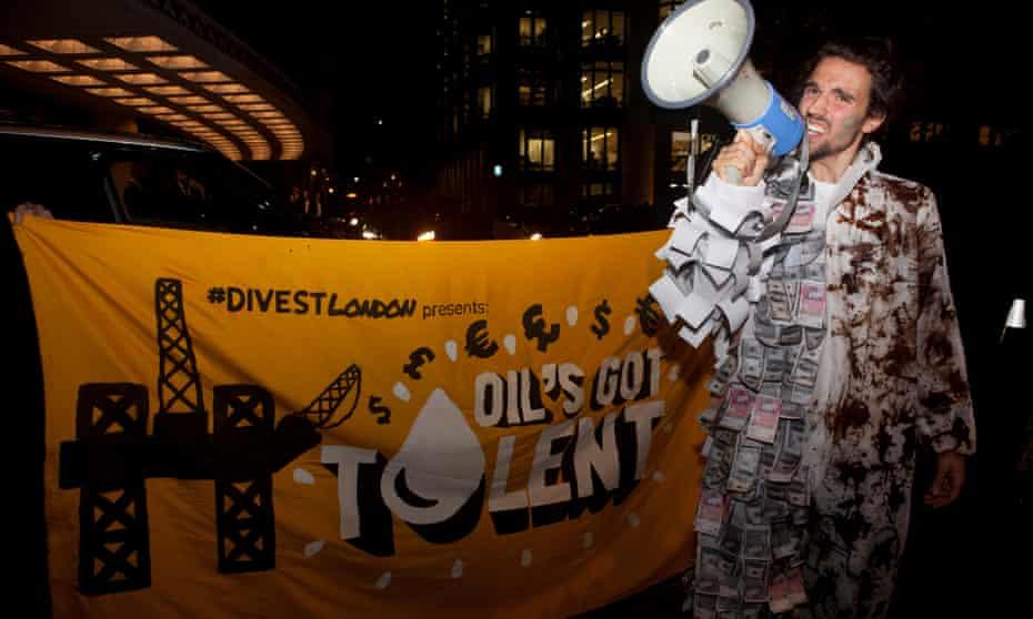 A protester outside the Dorchester