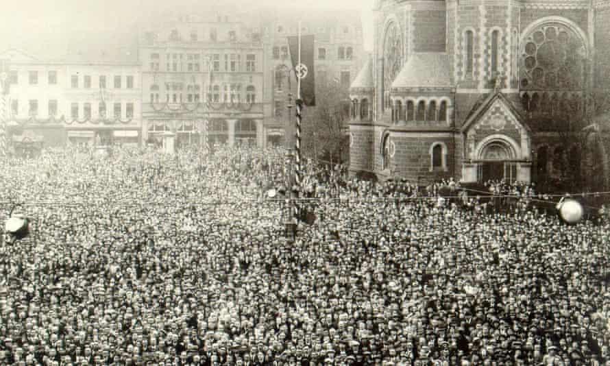 A Mönchengladbach crowd being addressed by Reich Minister of Propaganda Joseph Goebbels in 1933