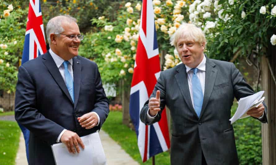 Boris Johnson and Australian prime minister Scott Morrison give a joint news conference in the garden of No 10 Downing Street in London, announcing the broad terms of a UK-Australia trade deal.