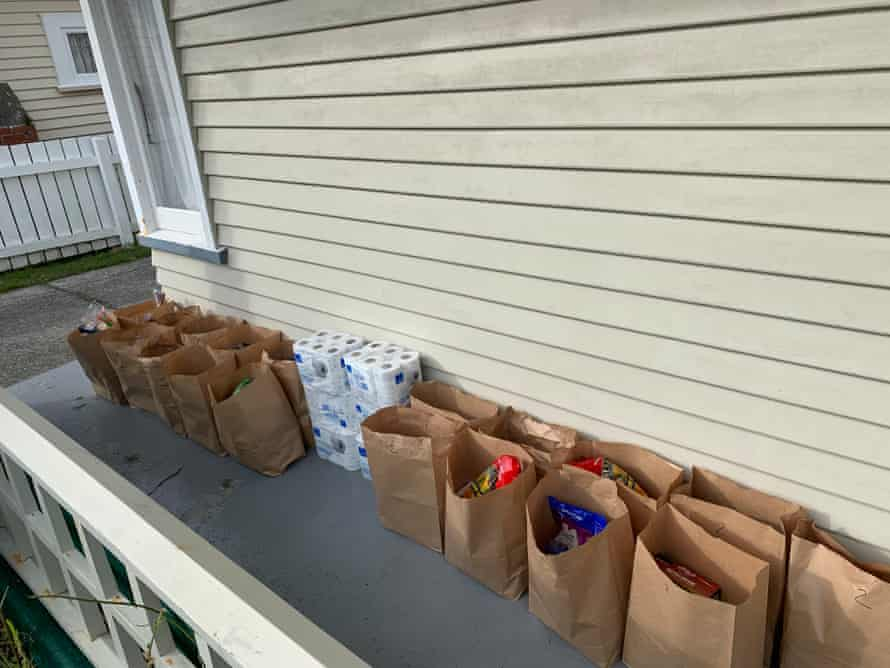 Food parcels outside Cindy Newport's home.