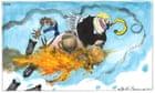 Martin Rowson on Boris Johnson riding the burning pig of crisis
