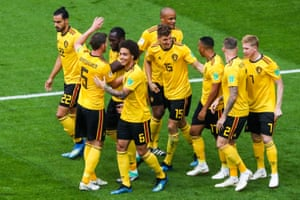 The Belgium team celebrate the opening goal.