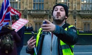 Far-right activist James Goddard outside parliament.