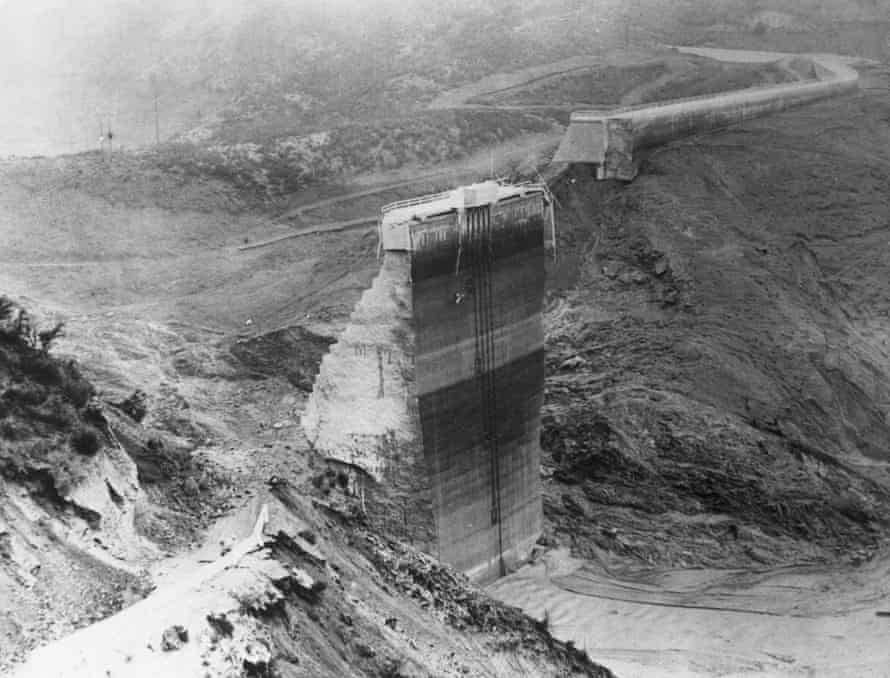 The St Francis Dam after it collapsed, releasing 12bn gallons of water.