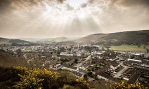 The view of a Welsh housing estate from a nearby hill