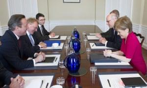 David Cameron sits down to talks with Nicola Sturgeon