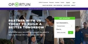Oportun's homepage.